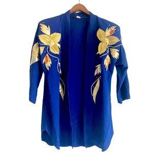 Vintage Blue and Gold Detailing Open Blazer